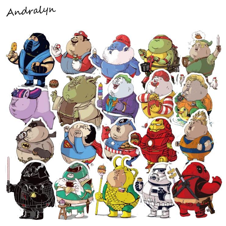 32 Pcs/Set  Fat Hero Sticker Cute Cartoon Anime Toy Kids Stickers for DIY Portable Phone Luggage Skateboard PVC Stickers