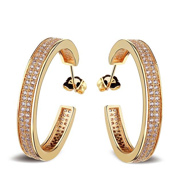 Pendientes para pendientes de aro mujeres material de cobre w / gold plated y Cubic zirconia piedra pendiente de moda envío gratis
