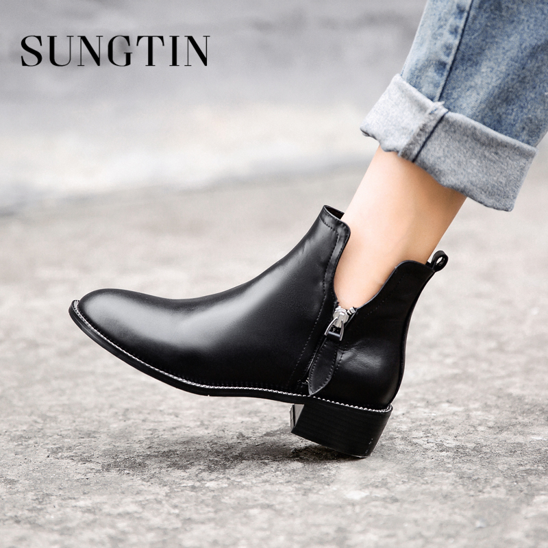 Sungtin Black Round Toe Chelsea Boots Women Genuine Leather Flat Ankle Boots Winter Plush Warm Short Riding Boots Ladies Booties xiangxue warm and fuzzy black suede flat boots for winter 2018 chelsea boots for women