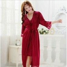 1 Set Fashion Spring Summer Sexy Women s Strap Nightgown Nightdress Sleepwear Female Silk Robe Twinset