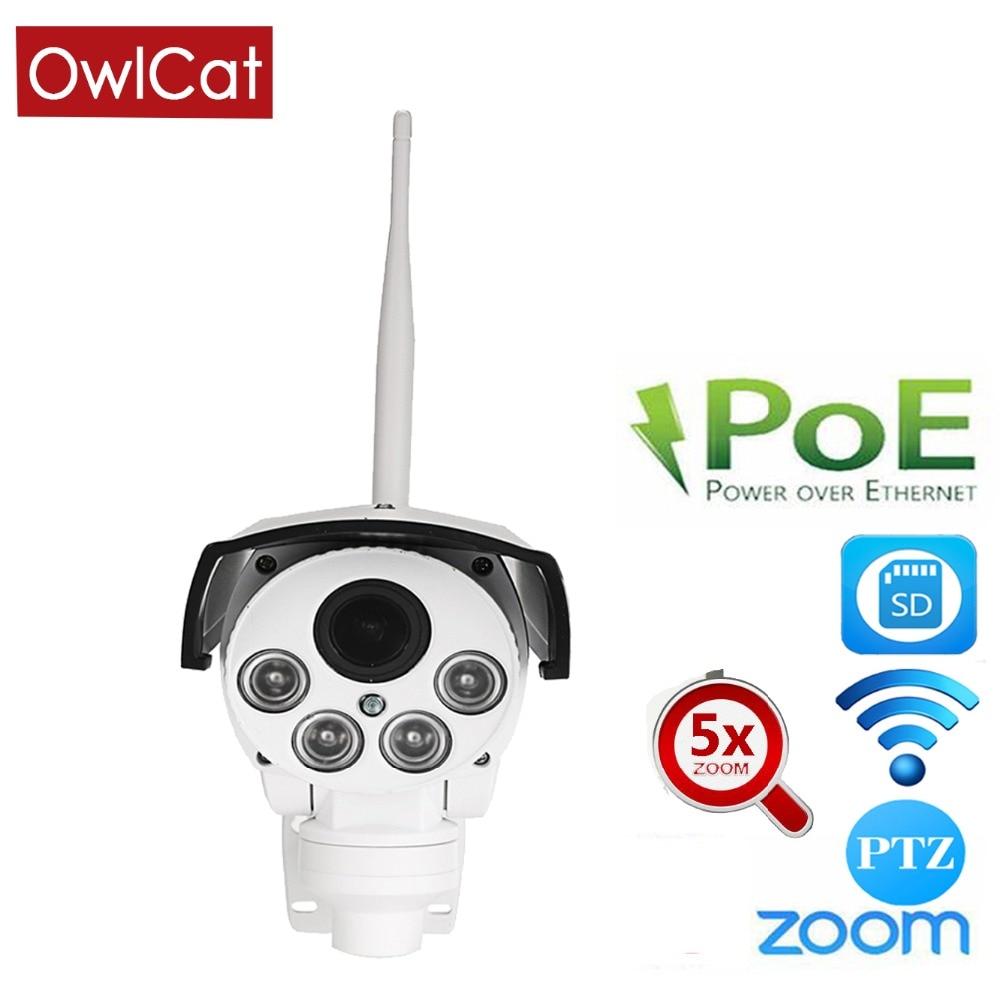 OwlCat CMOS Sans Fil PoE Bullet PTZ IP Caméra Externe Extérieure 5X Mise Au Point Automatique 2.7-13.5mm Sans Fil 2MP En Plein Air WIFI IR Onvif SD
