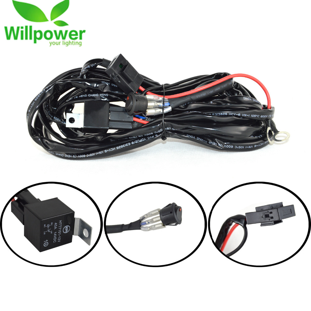 Car LED Light Bar Wire 3M 12v 24v 40A Wiring Harness Relay Loom Cable Kit Fuse for Auto Driving Offroad Led Work Lamp 40a 24v dc harness wire ceramic socket car stereo alarm spdt nc no relay 10 pcs