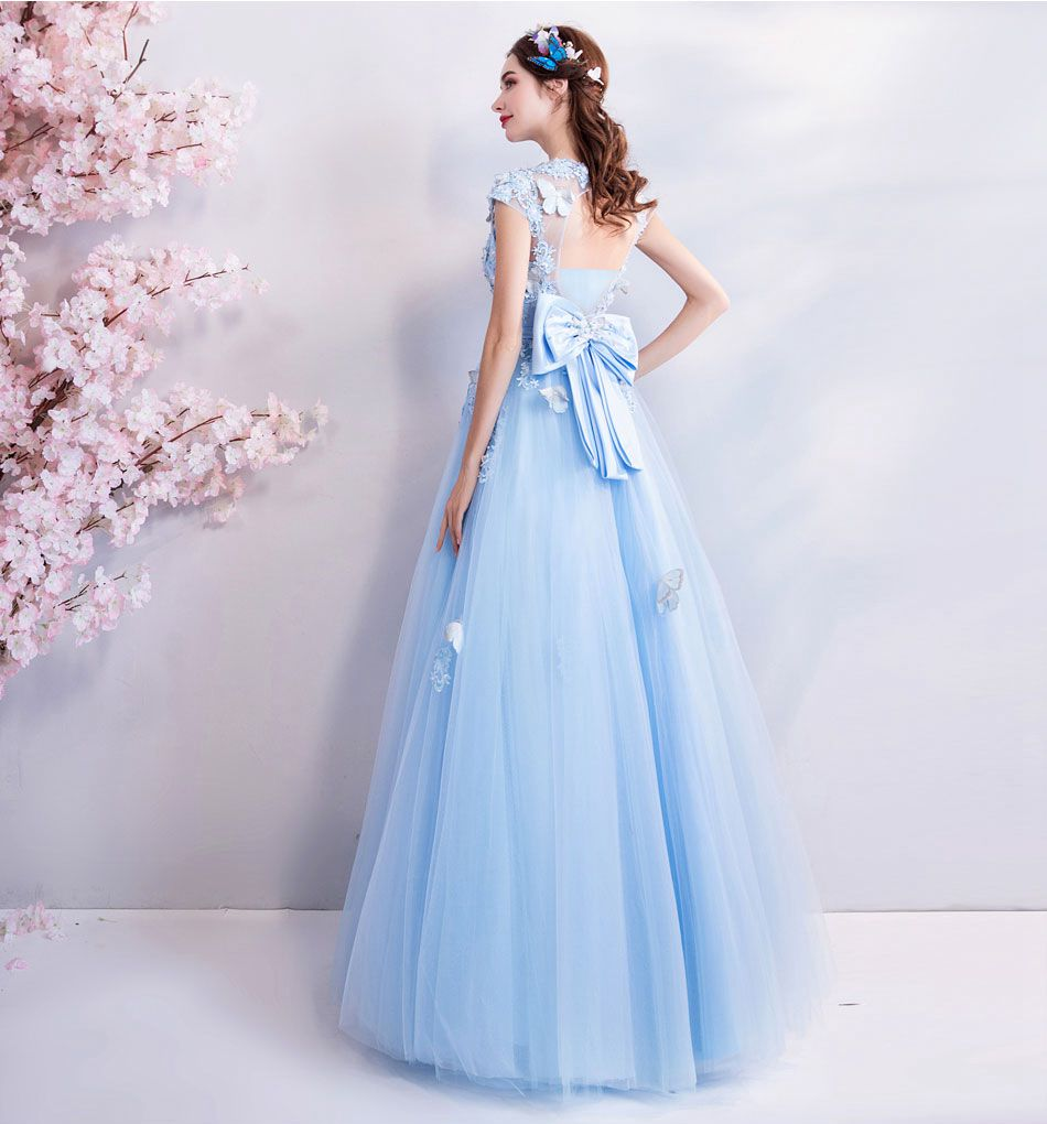 Image 3 - Walk Beside You Tulle Prom Dresses Blue Lace Appliques Beading A 