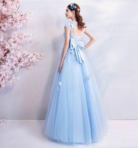 Image 3 - Walk bside You vestido azul De tul para graduación, Apliques De encaje con cuentas, Vestidos largos De corte en A, Vestidos De Noche De mariposa