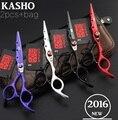 2 Ножницы + 1 Пакета(ов) Высокое Качество 6.0 Дюймов Kasho Профессиональный Парикмахерские Ножницы Волос Ножницы Набор Парикмахерская Салон Ножницы