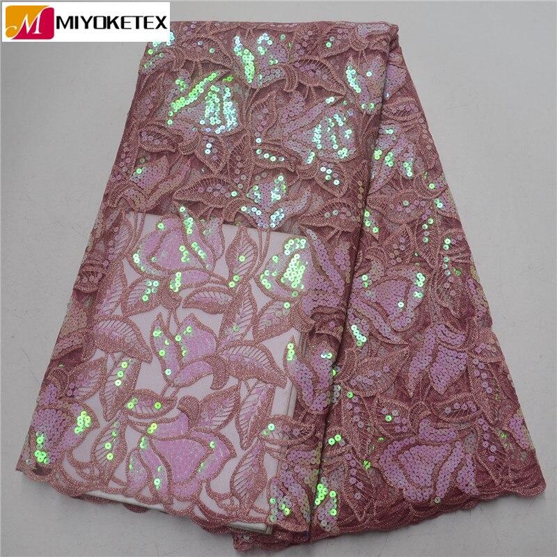 Paillettes africaines dentelle tissu 2019 haute qualité dentelle Tulle français dentelle nigériane paillettes dentelle tissus pour robe de mariée PSA514-1