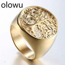 Olowu, мужское кольцо, ювелирное изделие, нержавеющая сталь, древо жизни, кольцо для мужчин, панк, литье, металлические кольца для мужчин, s Размер 8-14