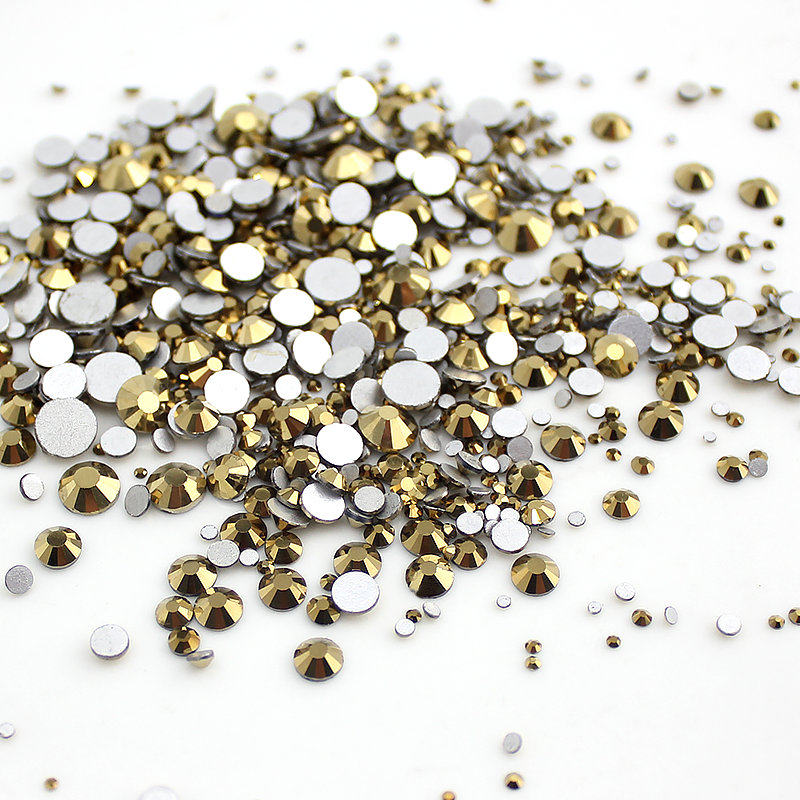 Aurum Mixed Size 1000pcs Nail Art Rhinestone SS3-SS30 Glass Flatback Non Hot Fix Rhinestones Glue On For Nails decorations aaaa quality rainbow dmc flatback crystals hot fix rhinestones garment accessories gray glue ss6 ss8 ss10 ss16 ss20 ss30