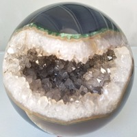 Natural stone agate ball spheres open crystal clusters beautiful decorative ball Polish spheres agate half open ones