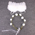 New Lovely Baby Floral Headband with Angel Wing Newborn Photography Props Set