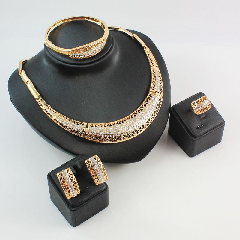 African Jewelry Sets Fine Wedding Gold Plated Rhinestone Necklace Set Party Women Fashion Bridal Ring Bangle
