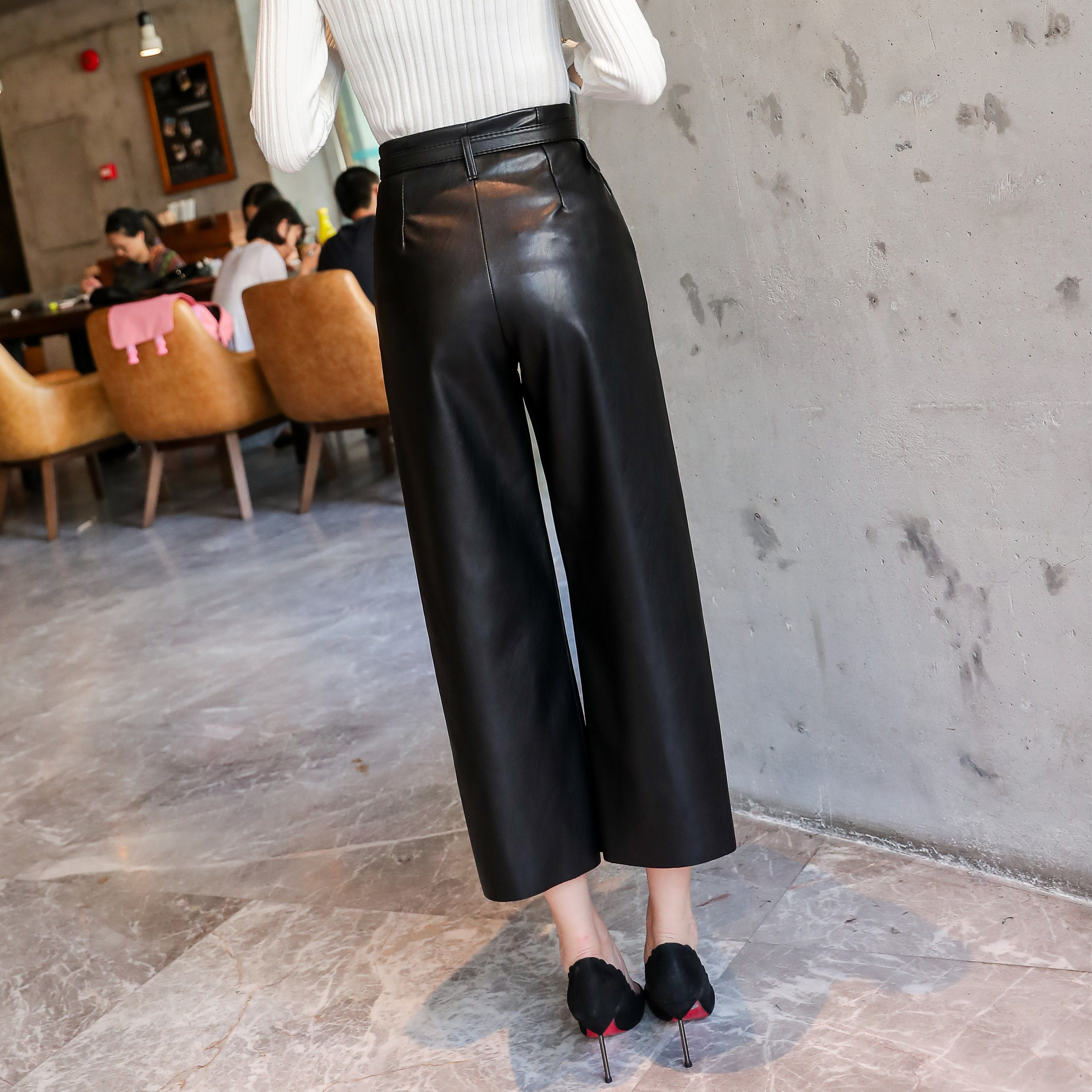 2019 Autumn Brand New Women PU Leather Pants Belted High Waist Faux Leather Ladies Trousers Winter