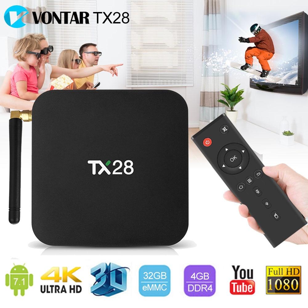 VONTAR TX28 4GB/32GB 4K Smart Android 7.1 Set Top TV Box Rockchip RK3328 Quad Core 2.4G/5GHz Dual Wifi BT4.1 H.265 Media Player vontar tx28 android 7 1 tv box 4gb ram 32gb rom rockchip rk3328 quad core 100m lan 2 4g 5ghz wifi bluetooth 4 1 iptv smart tanix