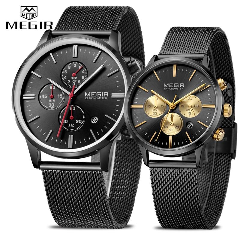 MEGIR mode chronographe hommes femmes montre décontracté étanche mince en acier maille Quartz montre pour homme dames montre-bracelet analogique Sport