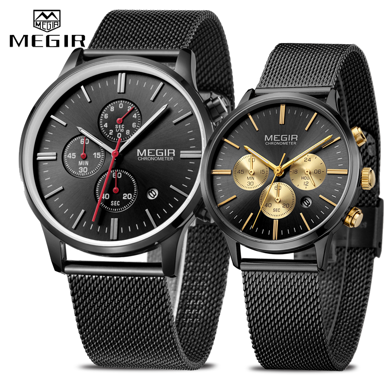 MEGIR Men Women Watch Set Fashion Chronograph Casual Waterproof Slim Steel Mesh Quartz Watch for Man Ladies Wrist Watch AnalogMEGIR Men Women Watch Set Fashion Chronograph Casual Waterproof Slim Steel Mesh Quartz Watch for Man Ladies Wrist Watch Analog
