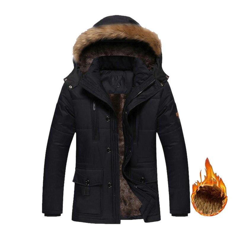 Men Winter Jacket Fur Hood Parka Man Thicken Warm Military Cargo Winter Coats Medium-long Male Outwear 5XL Drop Shipping ABZ109