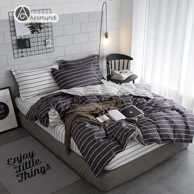 Arsmundi Black And White Stripes Bedding Set Duvet Cover Set Twin Full  Queen King Size Active