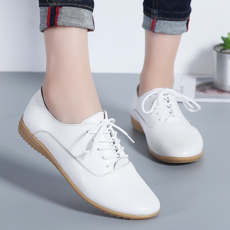 Women Genuine Leather Shoes Lace