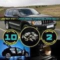 10x interior del coche kit led dome mapa matrícula la luz maletero para grand cherokee 2005-2010 + blanco/rojo/cristal azul/rosa #35