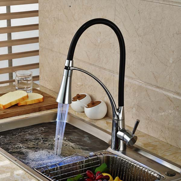 LED Spout Swivel Spout Chrome Brass Kitchen Faucet Single Handle Hole Vessel Sink Mixer Tap chrome brass kitchen faucet spring vessel sink mixer tap hot and cold tap swivel spout single handle hole