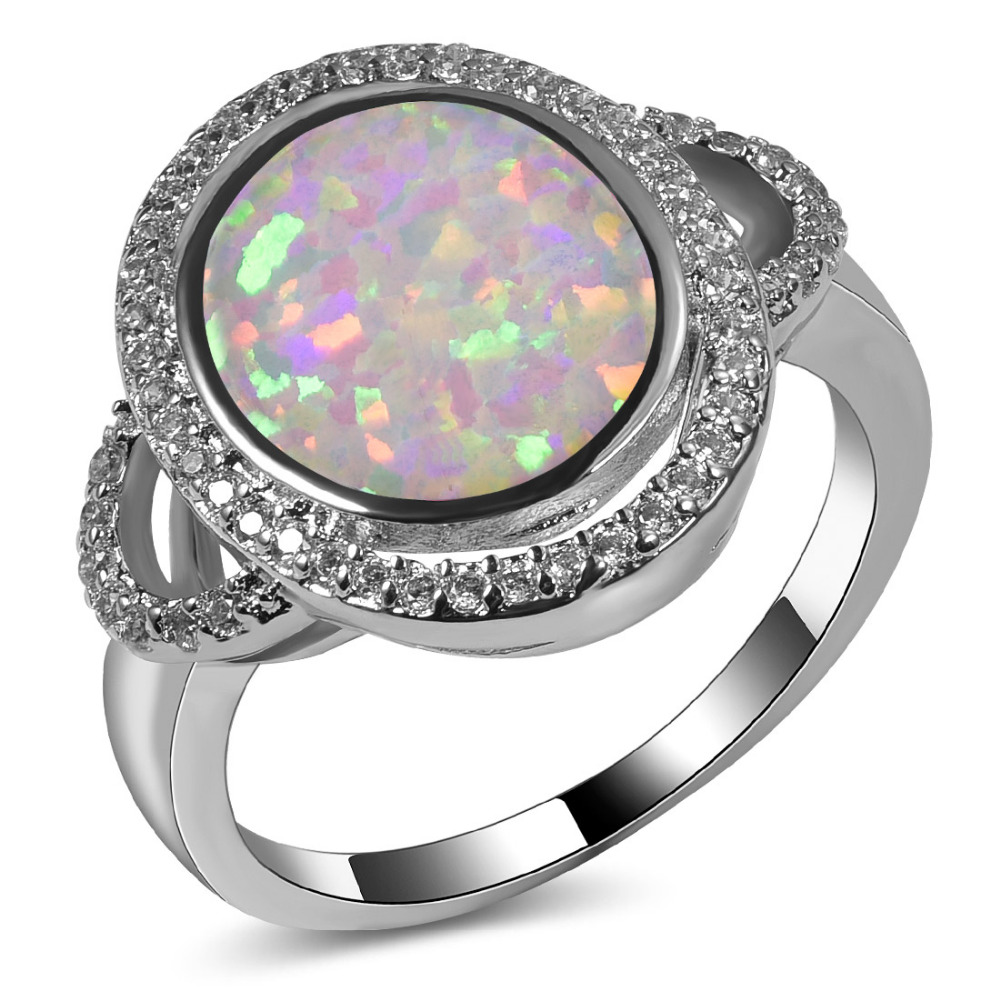 Hot Sale Exquisite White Fire Opal 925 Sterling Silver High Quantity Engagement Wedding Jewelry Ring Size