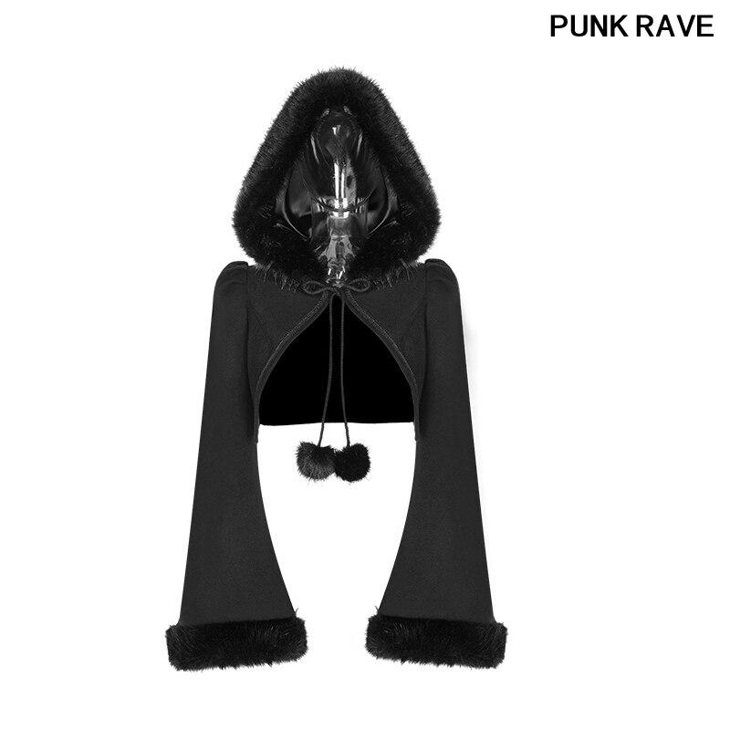Gothique Lolita Imitation lapin cheveux court manteau mode noir femmes veste doux laine Placket avec corde PUNK RAVE WLY-079EDF