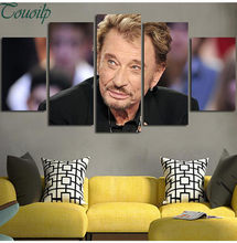 5pcs square/round diamond painting cross stitch Rock star johnny hallyday picture mosaic kit diamond embroidery(China)