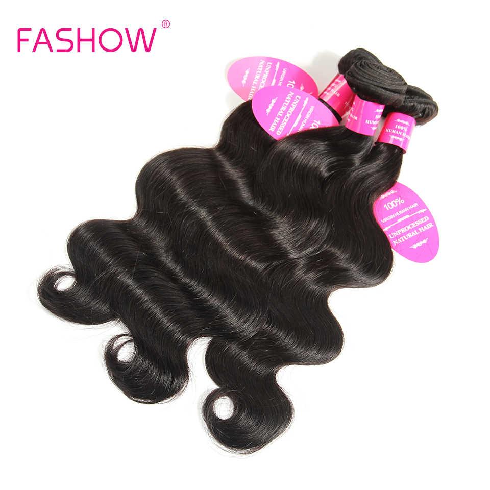 Extensiones de cabello humano de 4 paquetes de onda de cuerpo brasileño de pelo de fashshow trama doble de Color Natural 10 12 14 16 18 20 22 24 26 28 pulgadas