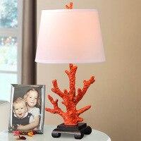 YOOK 36*78 см американский кантри Коралл филиал Настольная лампа для Спальня ночники 220V 110V E27