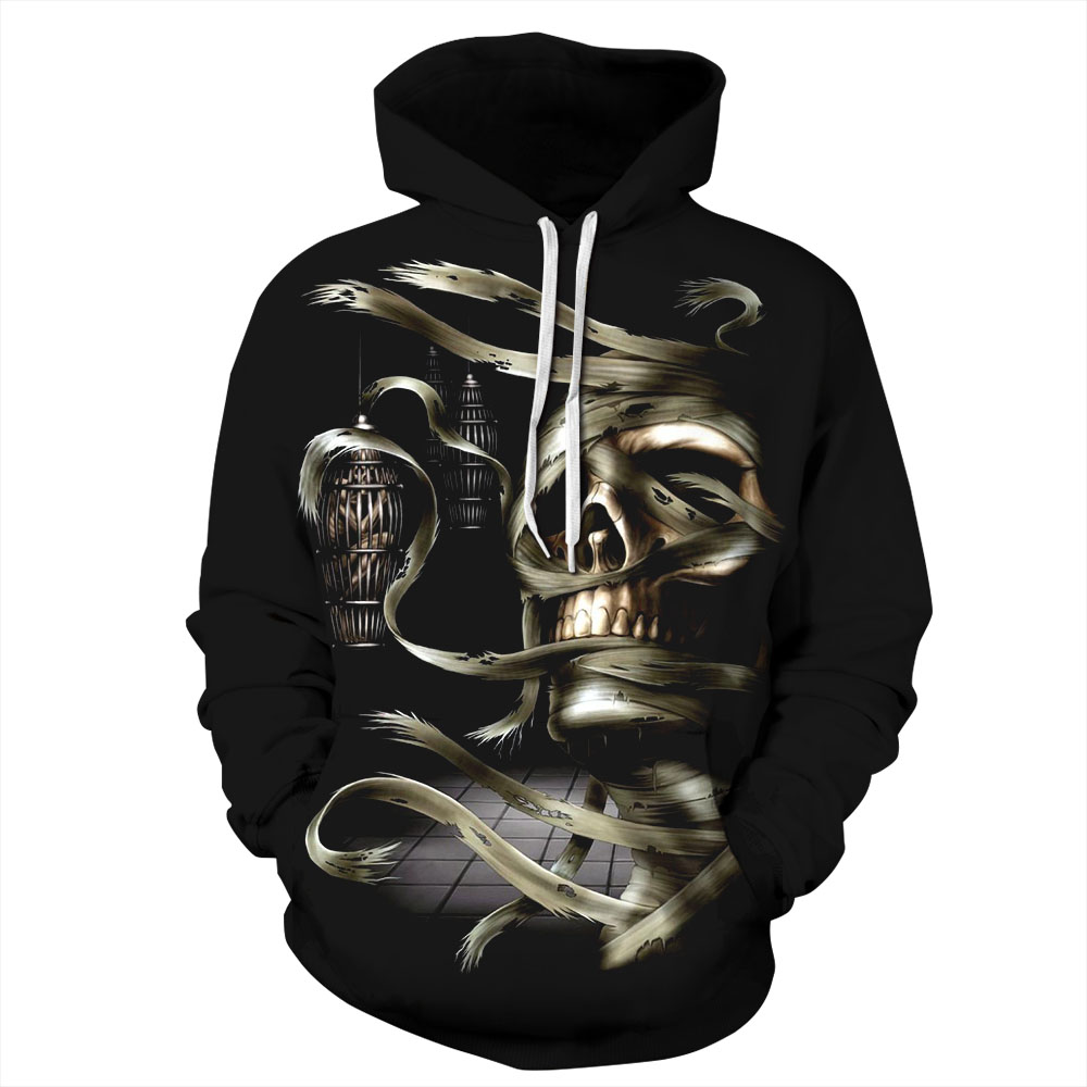 Women/Men Black Sport Sweatshirt Hoodies Mummy 3D Print Skull Halloween Punk Sportwear Unisex Tops Autumn Pocket Hooded Pullover