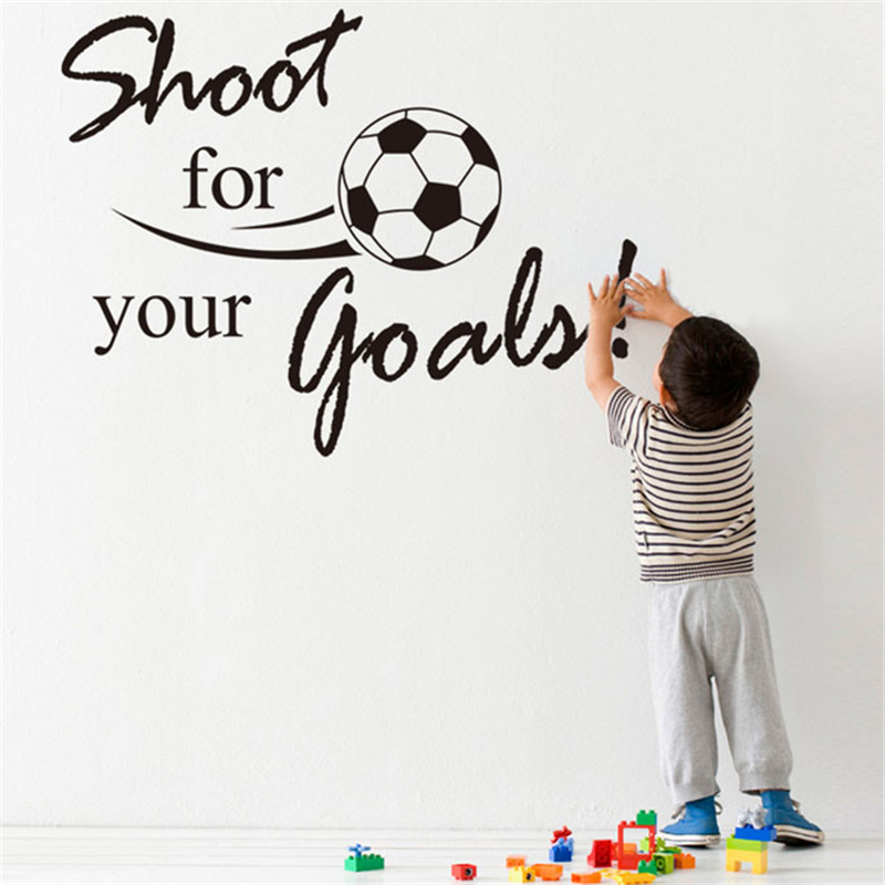 New Shoot For Your Goals Football Soccer Removable Decal Wall Sticker Home Decor Adhesive wall paper childrens wallpapers