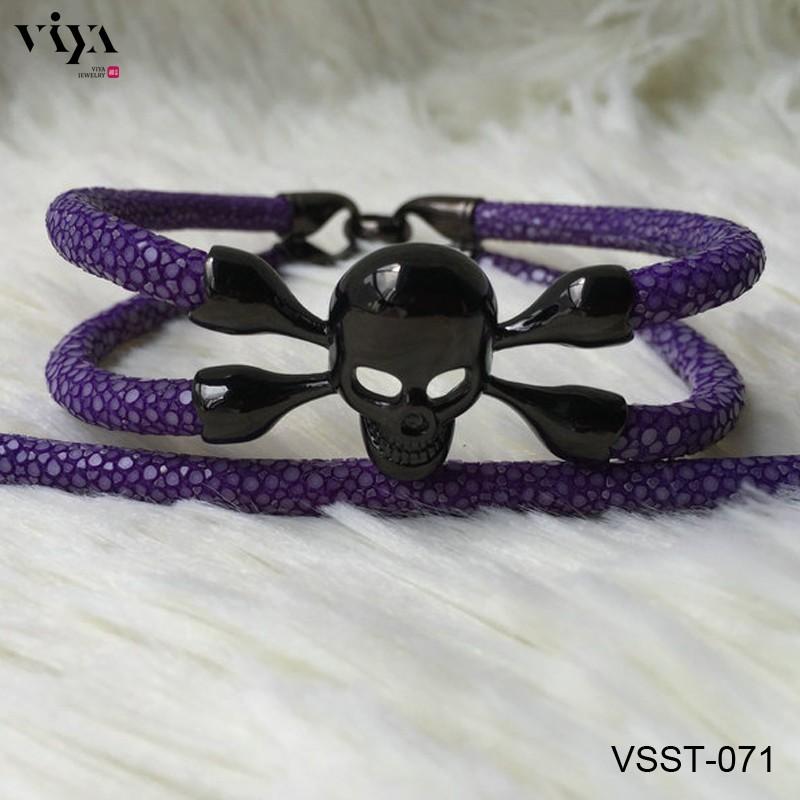 VSST-071 purple stingray leather with black skull no eyes (2)