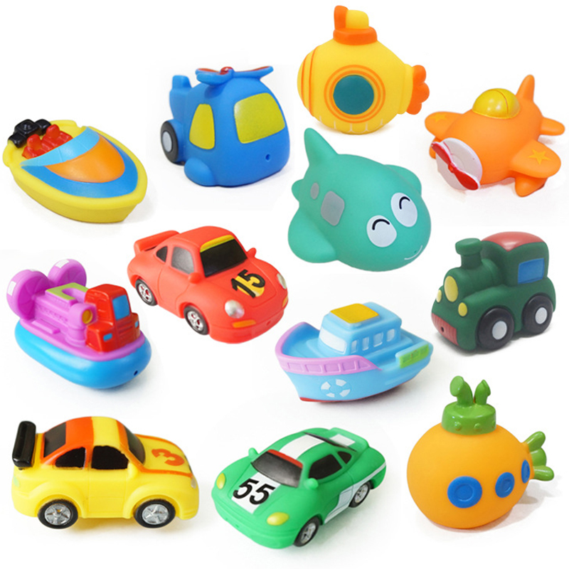 1PC Cool Bath Toy Swimming Pool Baby Toys Kids Water Spray Colorful Car Boat Train Soft Rubber Toys For Boys Girls Safe Material