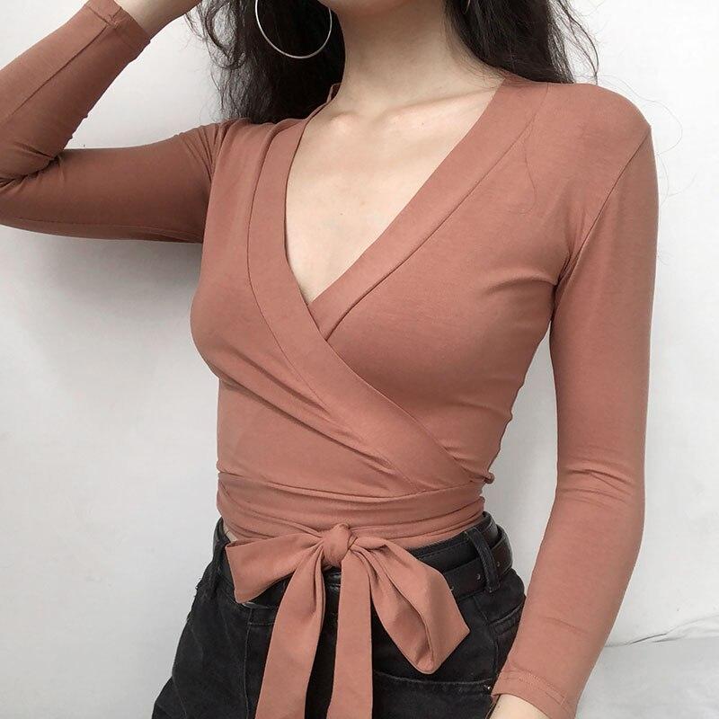 2019 mode v-cou haut pour femme chemises Slim Fit complet arc tunique courte couleur unie t-shirt à manches longues chemise femmes vêtements coréens