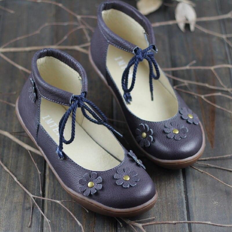 L'IMTER Chaussures Femme En Cuir Ballerines Femmes Cheville lacent Chaussures Femmes Plat Semelles Appliques Femmes Appartements Ballerines (K04)