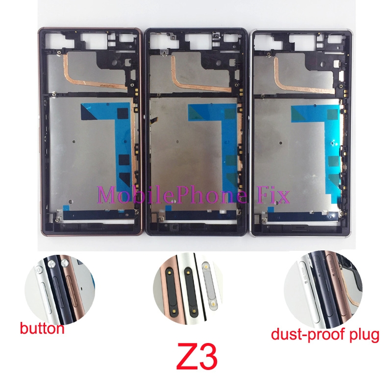 Middle Housing Frame Chassis For Sony Xperia Z3 D6603 D6653 D6683 D6633 Front Frame Bezel + Button +dust-proof plug