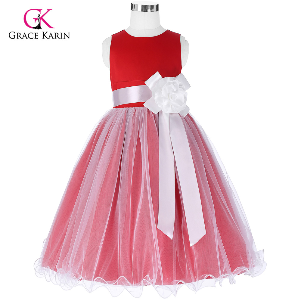 2018 red flower girl dresses for wedding big bow ankle length 2018 red flower girl dresses for wedding big bow ankle length meisjes jurk first communion dresses for girls party dresses mightylinksfo