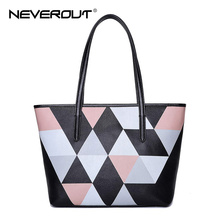 NeverOut Women Top-Handle Bag Lady Genuine Leather Casual Tote Bags Female Brand Name Handbags Style Color Patchwork Handbags