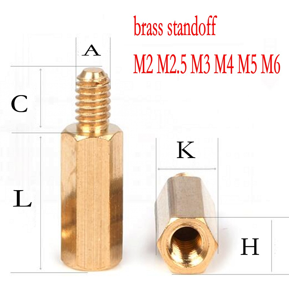 100PCS <font><b>brass</b></font> <font><b>standoff</b></font> <font><b>M2</b></font> <font><b>M2</b></font>.5 M3 M4 M5 M6 Male Female <font><b>Brass</b></font> <font><b>Standoff</b></font> Spacer Hexagonal Stud PCB Computer PC Motherboard Spacer image