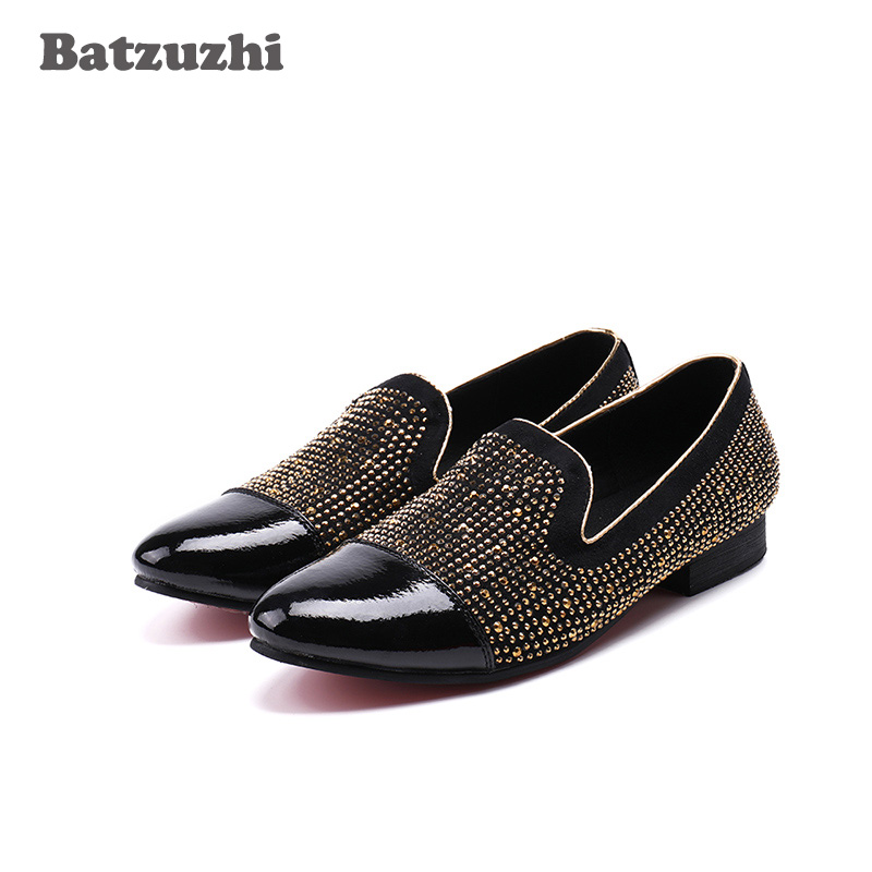 Luxury Men Shoes Italian Handmade Genuine Leather Shoes Men Dress Flats Gold Crysal Party Shoe Wedding Zapatos Hombre, US12 zobairou vintage genuine leather men shoes italian men dress shoes multicolor printed party wedding handmade loafers men flats