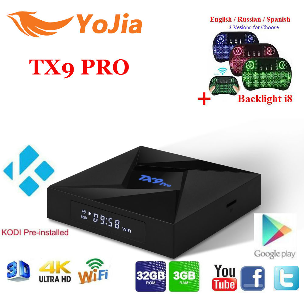 Yojia 3 GB/32 GB TX9 Pro Amlogic S912 Android 7.1 TV Box 2.4/5.8 GHz WiFi 4 K Bluetooth TX9 PRO Set Top Box PK T95z Plus GT1