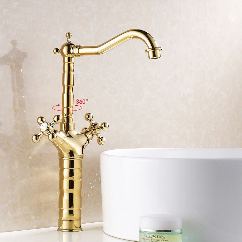 ФОТО Free Shipping Bathroom Faucet Gold Dual Clawfoot Handle sink Mixer Tap.Single Hole Washbasin faucet Hot&Cold Tap HJ-6712K