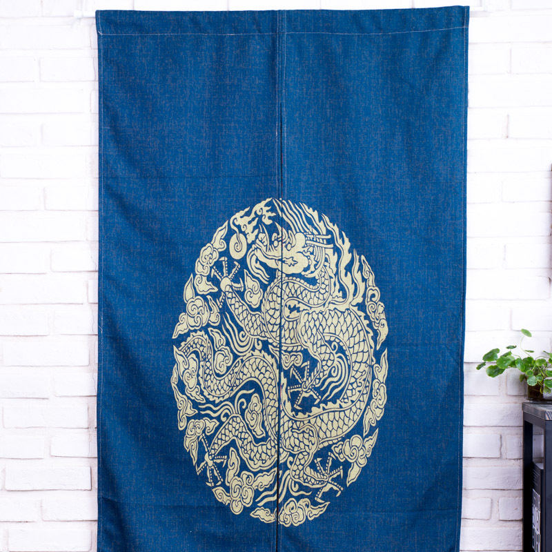 GOLD DRAGON Pattern Traditional Chinese Style Cotton Linen Door Curtains  Room Partition/Divider Decorative Blue Half Curtains In Curtains From Home  U0026 Garden ...