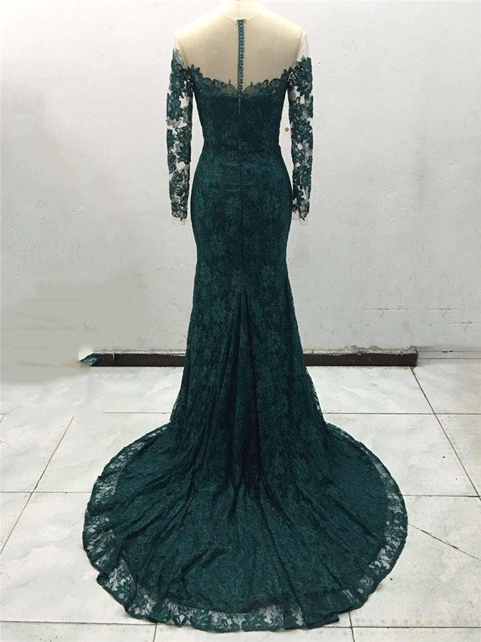 2019 New Green Lace Appliques Evening Party Dress vestido de festa Sexy Illusion Back Long Formal Dress Prom Gowns Customed in Evening Dresses from Weddings Events
