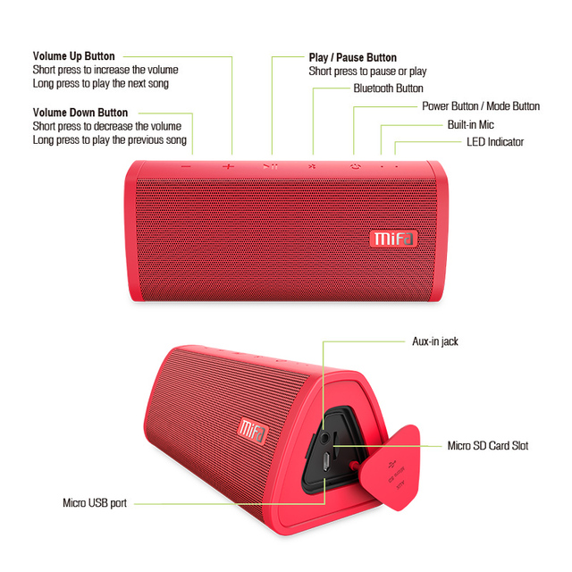 Mifa Portable Bluetooth speaker Portable Wireless Loudspeaker Sound System 10W stereo Music surround Waterproof Outdoor Speaker 4