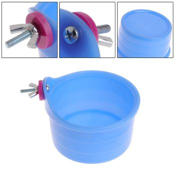 Drop Ship Parrot Feeder Plastic Water Food Feeding Birds Hamster Chinchilla Fixable Bowl