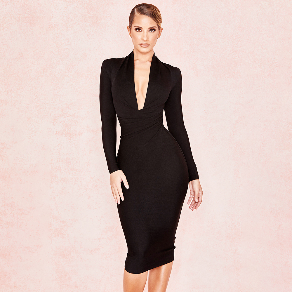 Aliexpress.com : Buy Black V Neck Long Sleeve Lady's Party