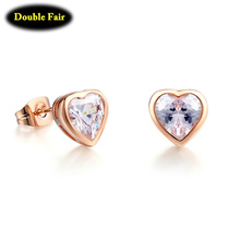 Love Heart AAA+ Stellux Crystal Stud Earrings For Women Silver/Rose Gold Color Fashion Brand Wedding Jewelry Brincos DWE262()