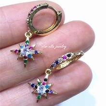 10 пар/лот новые радужные ювелирные изделия кубический цирконий Северная звезда серьги женские модные серьги «Радуга» для подарка