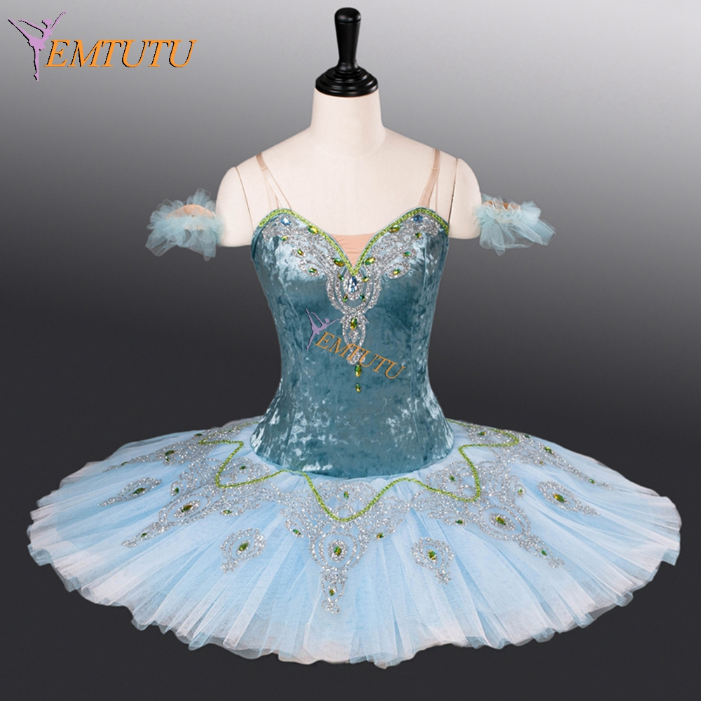 adult blue professional ballet tutu pancake classical ballet tutus performance stage competition ballerina stage costumes women